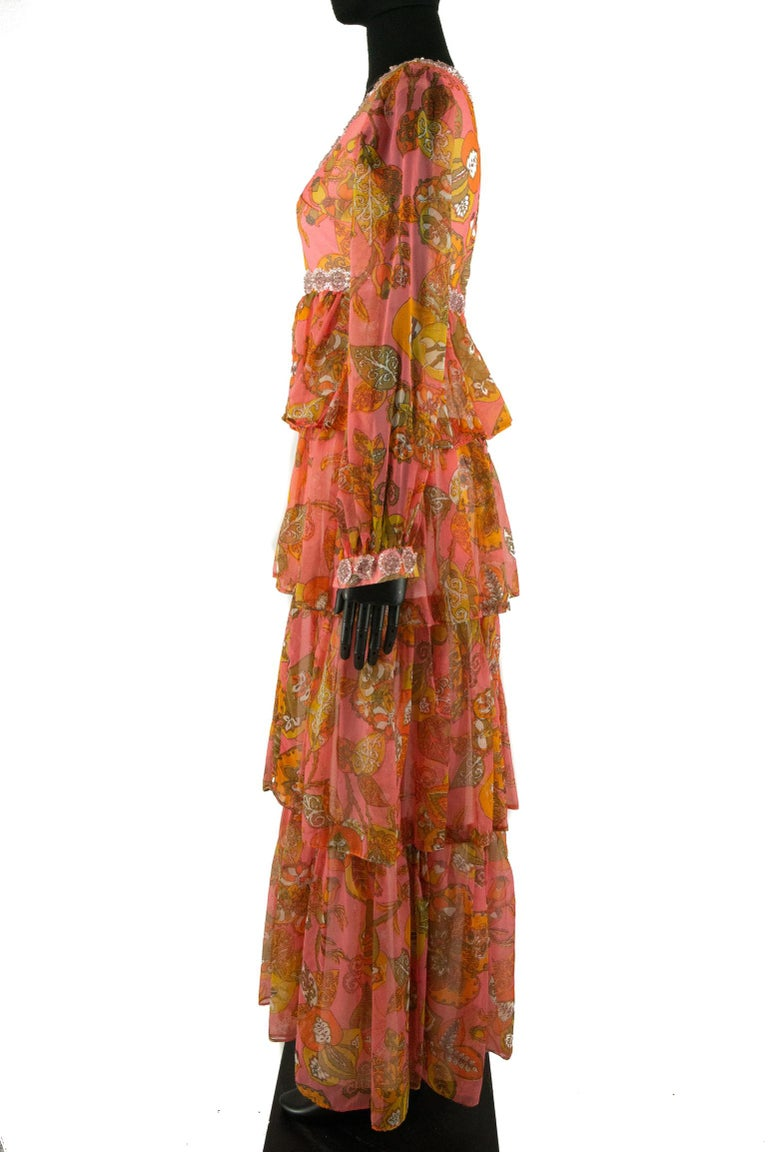 1970s Pauline Coral Psychedelic Print Dress In Good Condition For Sale In London, GB