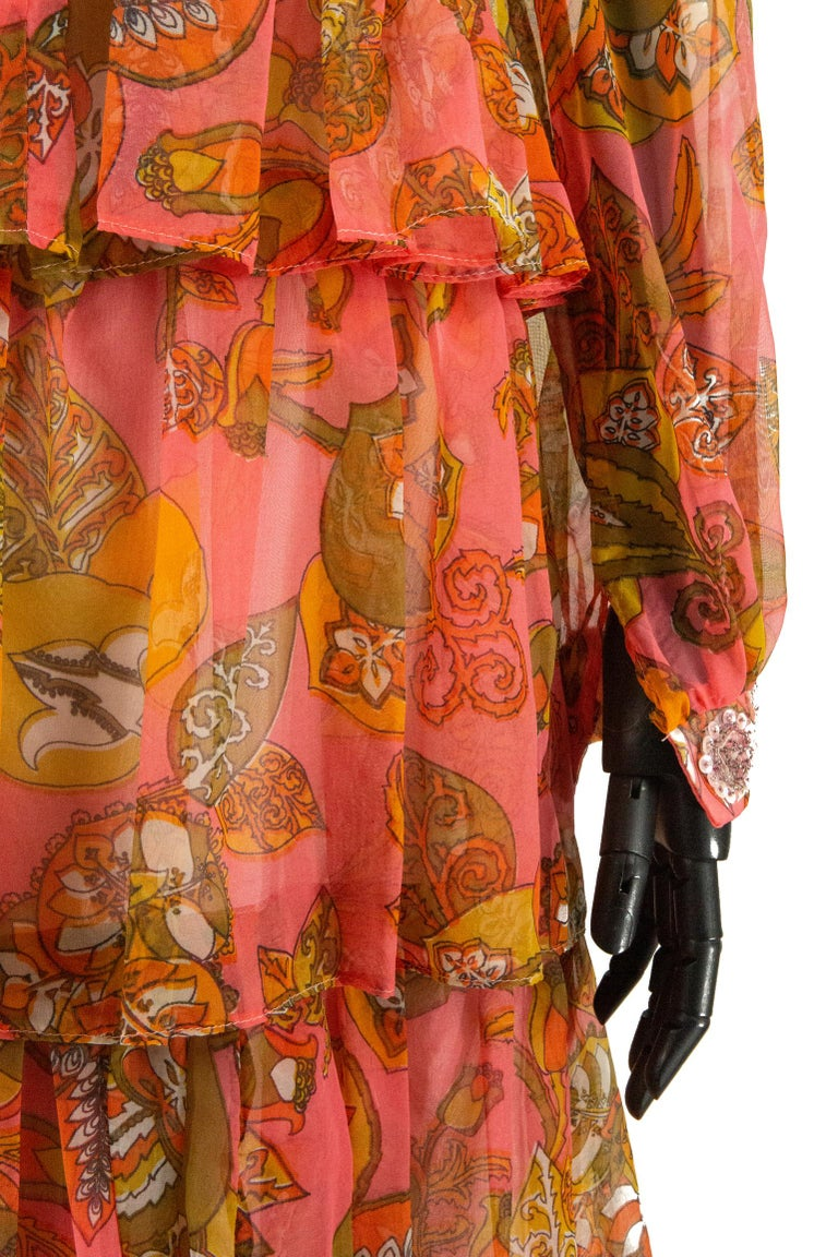 Women's 1970s Pauline Coral Psychedelic Print Dress For Sale