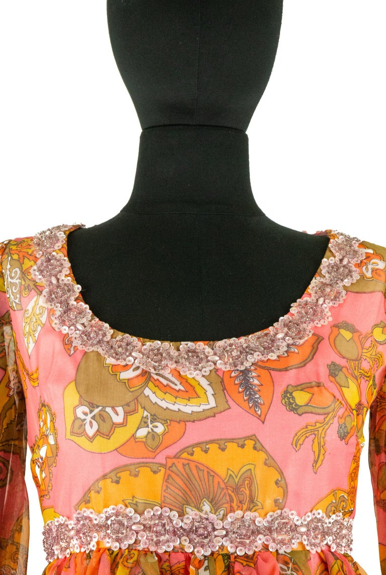 1970s Pauline Coral Psychedelic Print Dress For Sale 1