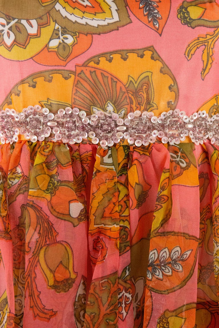 1970s Pauline Coral Psychedelic Print Dress For Sale 2
