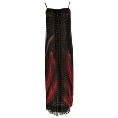 1970s Pauline Trigere Black & Gold Silk w Red Snake Print Dress & Scarf