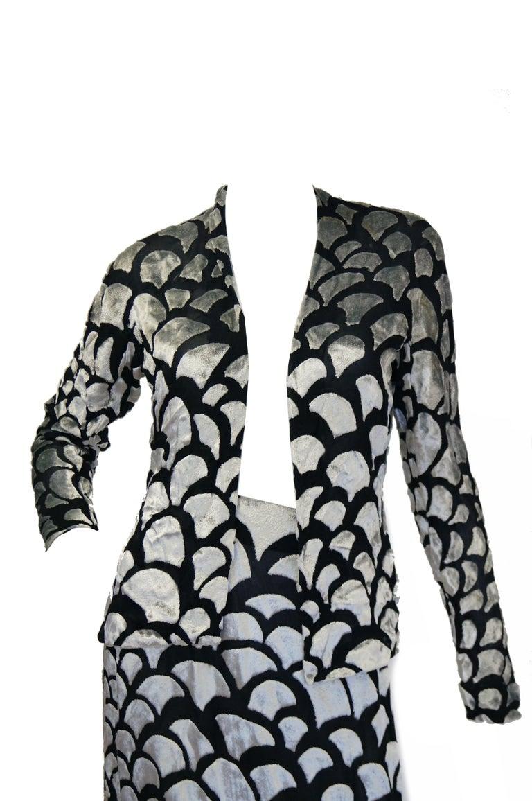 Women's 1970s Pauline Trigere Black & Silver Burnout Velvet Evening Dress Ensemble For Sale