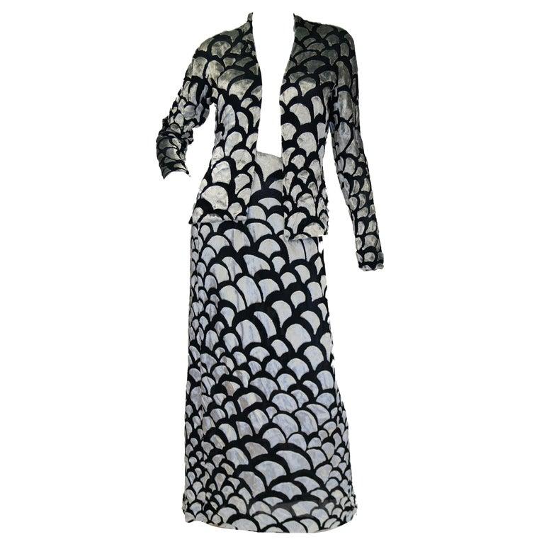 1970s Pauline Trigere Black & Silver Burnout Velvet Evening Dress Ensemble For Sale