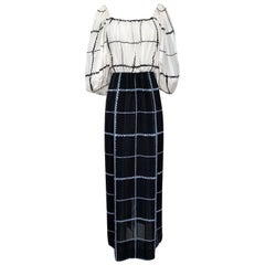 1970s Pauline Trigere Contrasting Black & White Silk Rope Print Dress