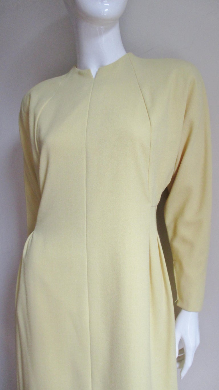 Beige 1970s Pauline Trigere Dress with Seaming For Sale