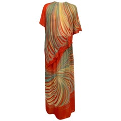 1970's Pauline Trigere Printed Coral Silk Two Piece Dress