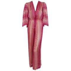 Vintage 1970's Pauline Trigere Rose Pink Striped Ombré Silk Low Plunge Jumpsuit
