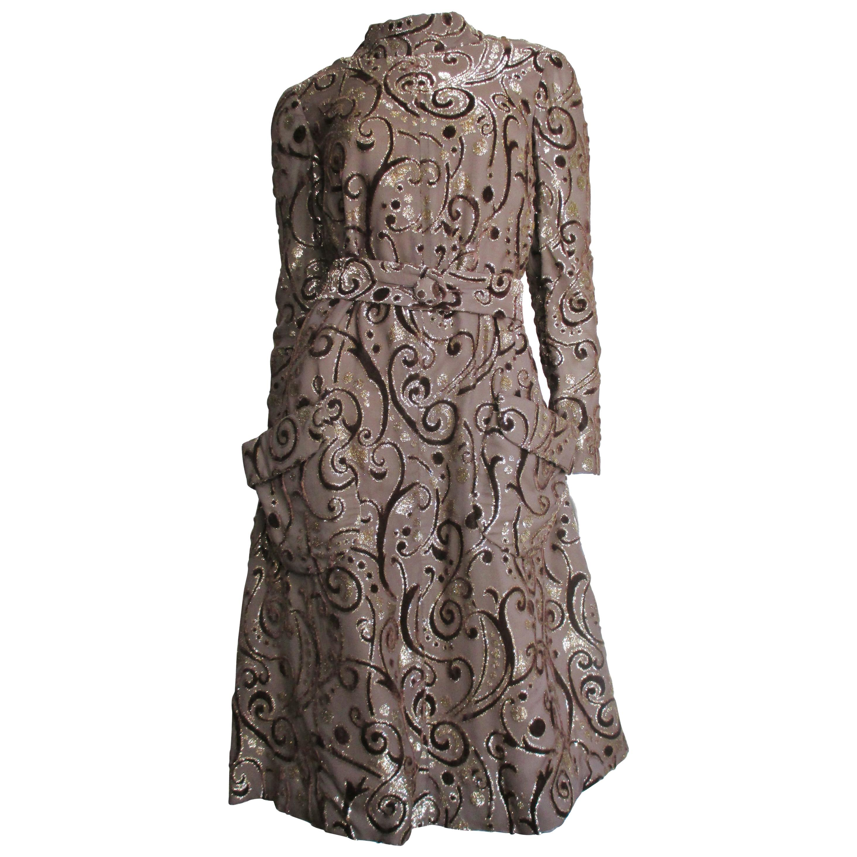1970s Pauline Trigere Silk Velvet Dress
