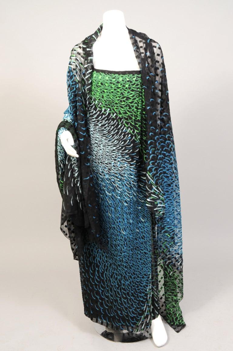 1970's Pauline Trigere Wrap Style Silk Chiffon Dress with Large Matching Shawl For Sale 2