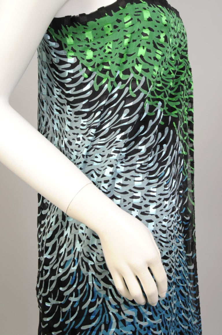 1970's Pauline Trigere Wrap Style Silk Chiffon Dress with Large Matching Shawl In Excellent Condition For Sale In New Hope, PA