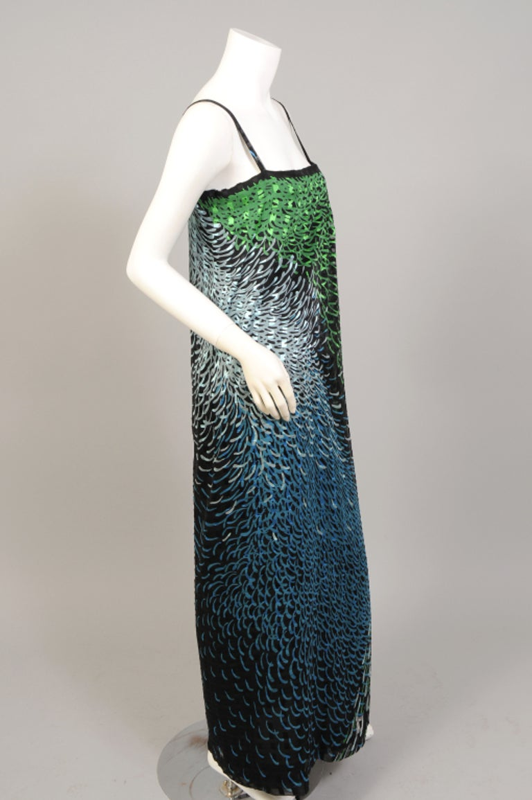 Women's 1970's Pauline Trigere Wrap Style Silk Chiffon Dress with Large Matching Shawl For Sale