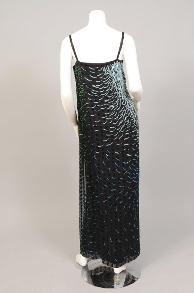 1970's Pauline Trigere Wrap Style Silk Chiffon Dress with Large Matching Shawl For Sale 1