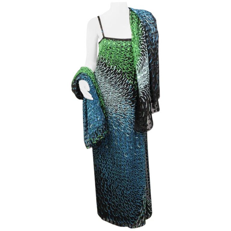 1970's Pauline Trigere Wrap Style Silk Chiffon Dress with Large Matching Shawl For Sale