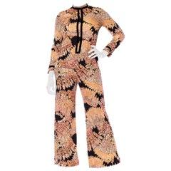 1970S Peach & Black Polyester Jersey Leafy Printed Blouse Pants Ensemble