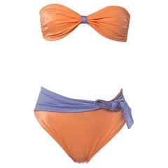 1970S Peach & Lavender Polyester Spandex Twist Tie Front Strapless Bikini