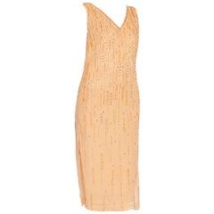 1970'S Peach Silk Chiffon Crystal Beaded Straight Shift Cocktail Dress