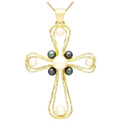 1970s Pearl and Yellow Gold Cross Pendant