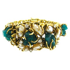1970s Pearl Chatham Emerald and Diamond Bracelet