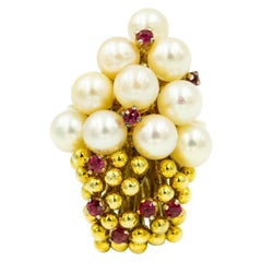 1970s Pearl Ruby and Gold Bead Cluster Ring