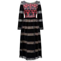 1970s Louis Feraud Haute Couture Black Velvet Dress