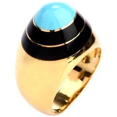 1970s Persian Turquoise Black Enameled 18 Karat Yellow Gold Ring