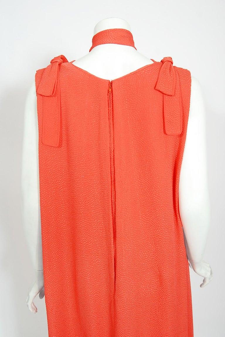 1970's Philippe Venet Haute Couture Orange Textured Silk Draped Caftan Dress For Sale 5