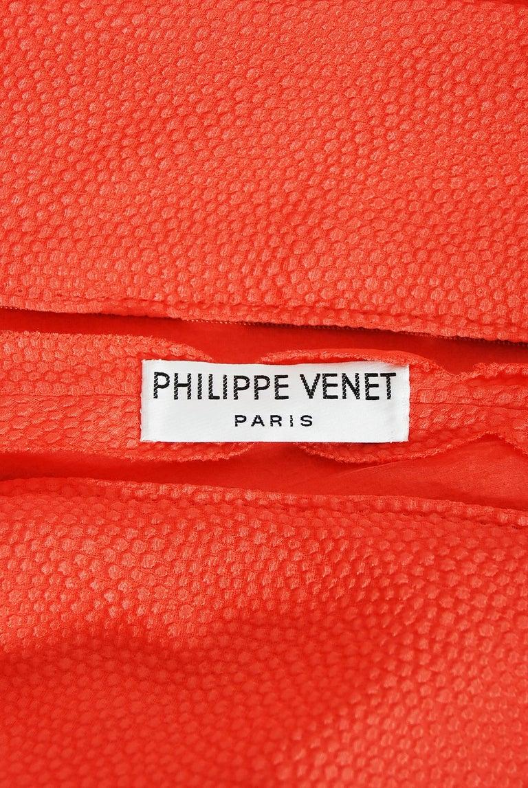 1970's Philippe Venet Haute Couture Orange Textured Silk Draped Caftan Dress For Sale 6