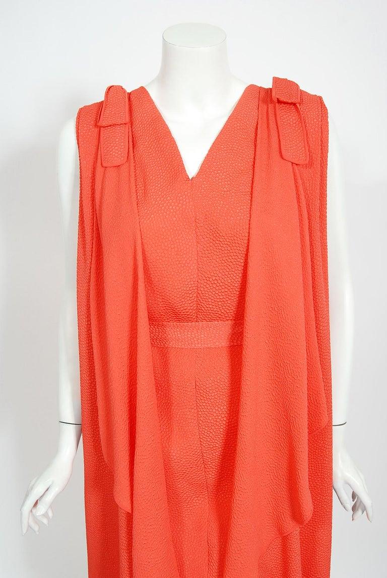 Red 1970's Philippe Venet Haute Couture Orange Textured Silk Draped Caftan Dress For Sale
