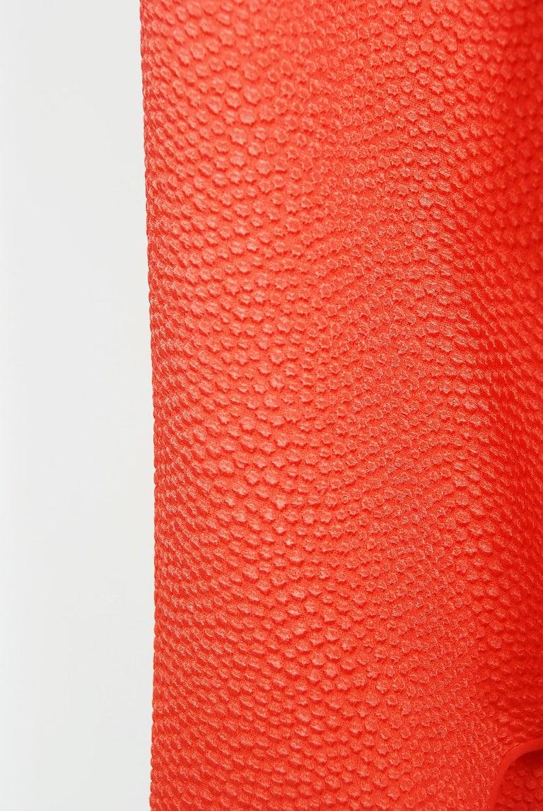 Women's 1970's Philippe Venet Haute Couture Orange Textured Silk Draped Caftan Dress For Sale
