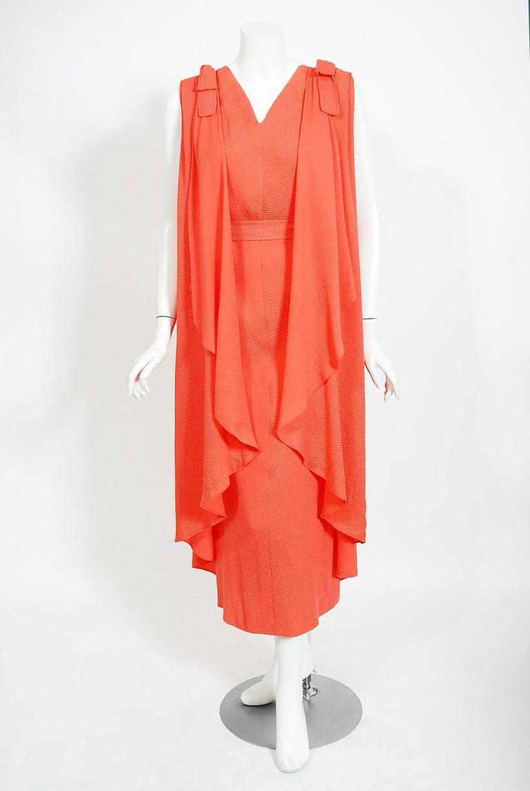 1970's Philippe Venet Haute Couture Orange Textured Silk Draped Caftan Dress For Sale 1