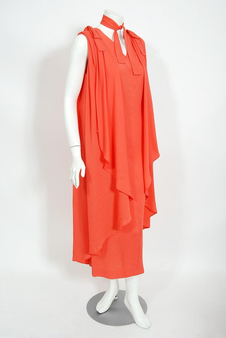 1970's Philippe Venet Haute Couture Orange Textured Silk Draped Caftan Dress For Sale 2