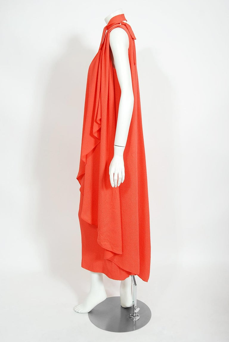 1970's Philippe Venet Haute Couture Orange Textured Silk Draped Caftan Dress For Sale 3