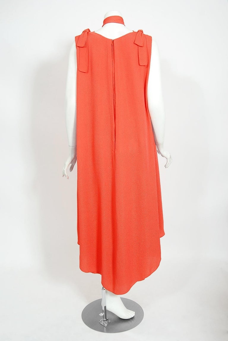 1970's Philippe Venet Haute Couture Orange Textured Silk Draped Caftan Dress For Sale 4
