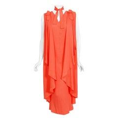 1970's Philippe Venet Haute Couture Orange Textured Silk Draped Caftan Dress