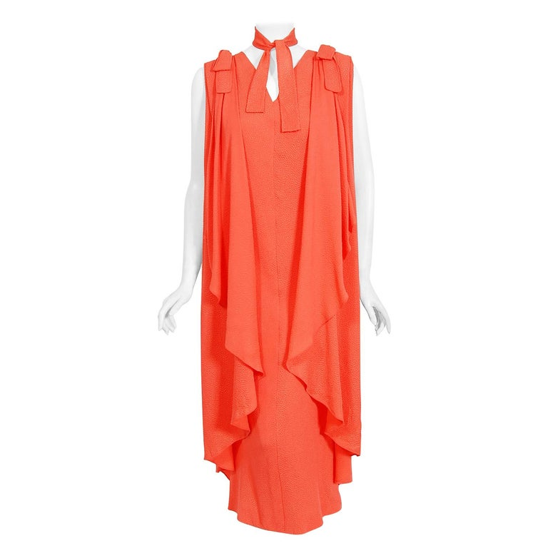 1970's Philippe Venet Haute Couture Orange Textured Silk Draped Caftan Dress For Sale