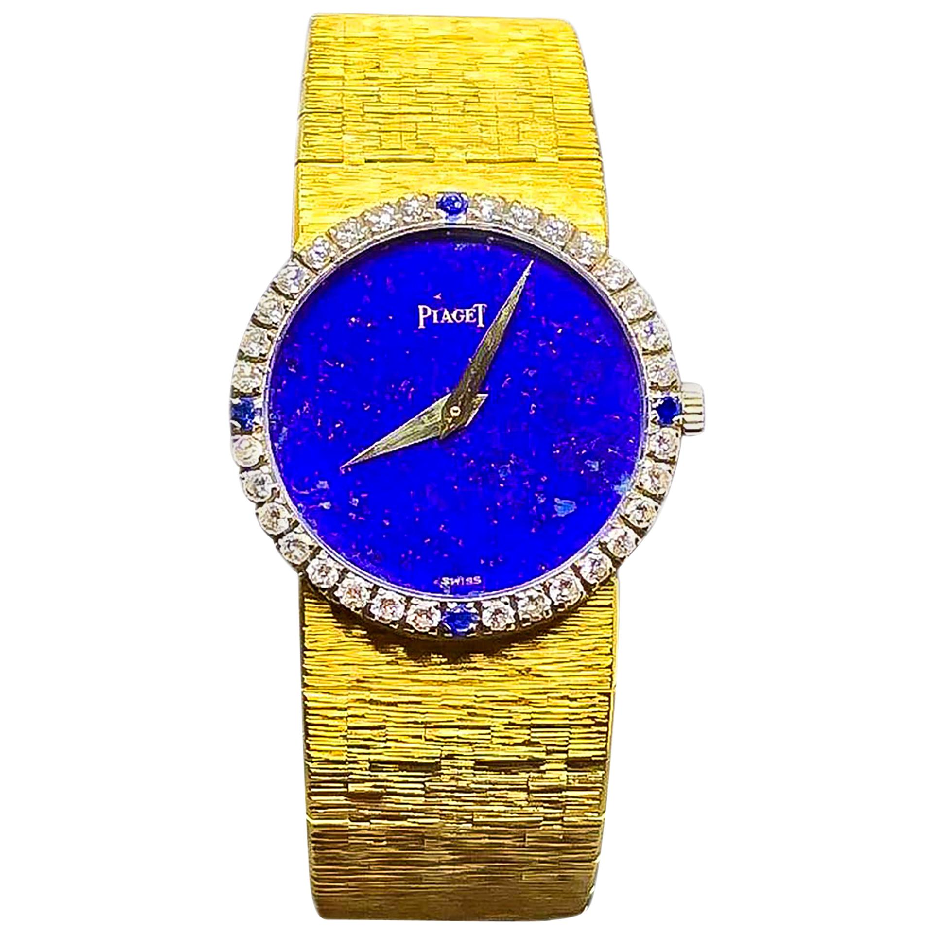 1970s Piaget 18 Karat Yellow Gold Lapis Diamond Sapphire Bracelet Watch