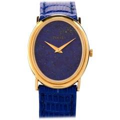 1970s Piaget Lapis 18 Karat Gold Mechanical Ref 9861 Leather Watch