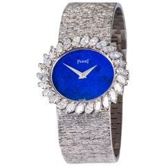 1970s Piaget Lapis 18 Karat White Gold Marquis Diamond Set Bracelet Watch