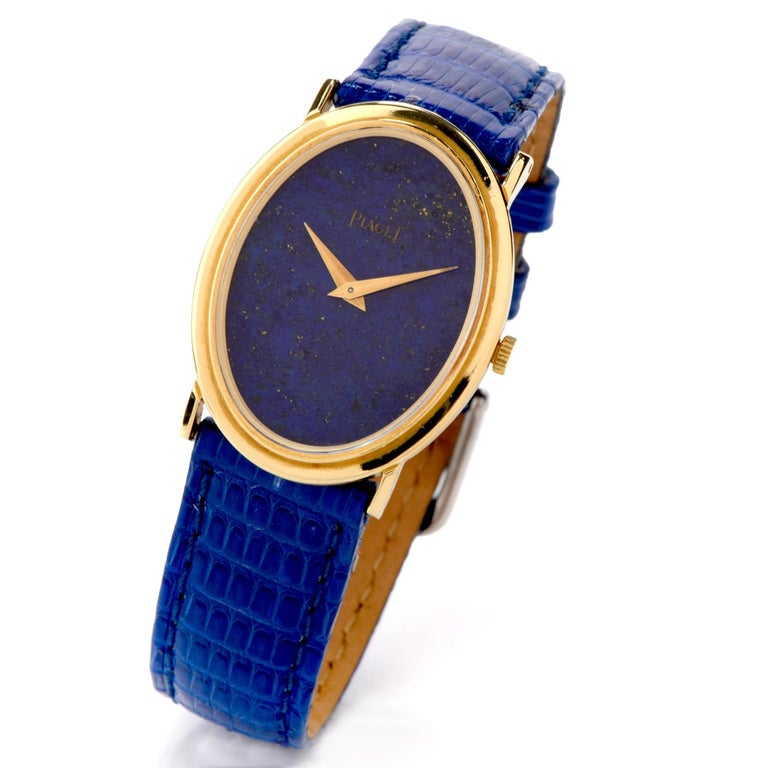 Oval Cut 1970s Piaget Lapis 18 Karat Gold Mechanical Ref 9861 Leather Watch For Sale