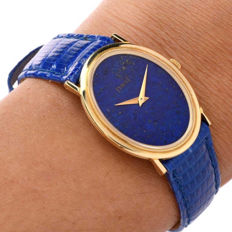 1970s Piaget Lapis 18 Karat Gold Mechanical Ref 9861 Leather Watch For Sale 1