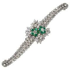 1970s Piaget Platinum Diamond Emerald Concealed Bracelet Watch Approx 25 Carat