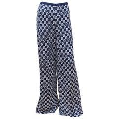 1970's Pierre Cardin Blue & White Knit Logo Lounge Pants