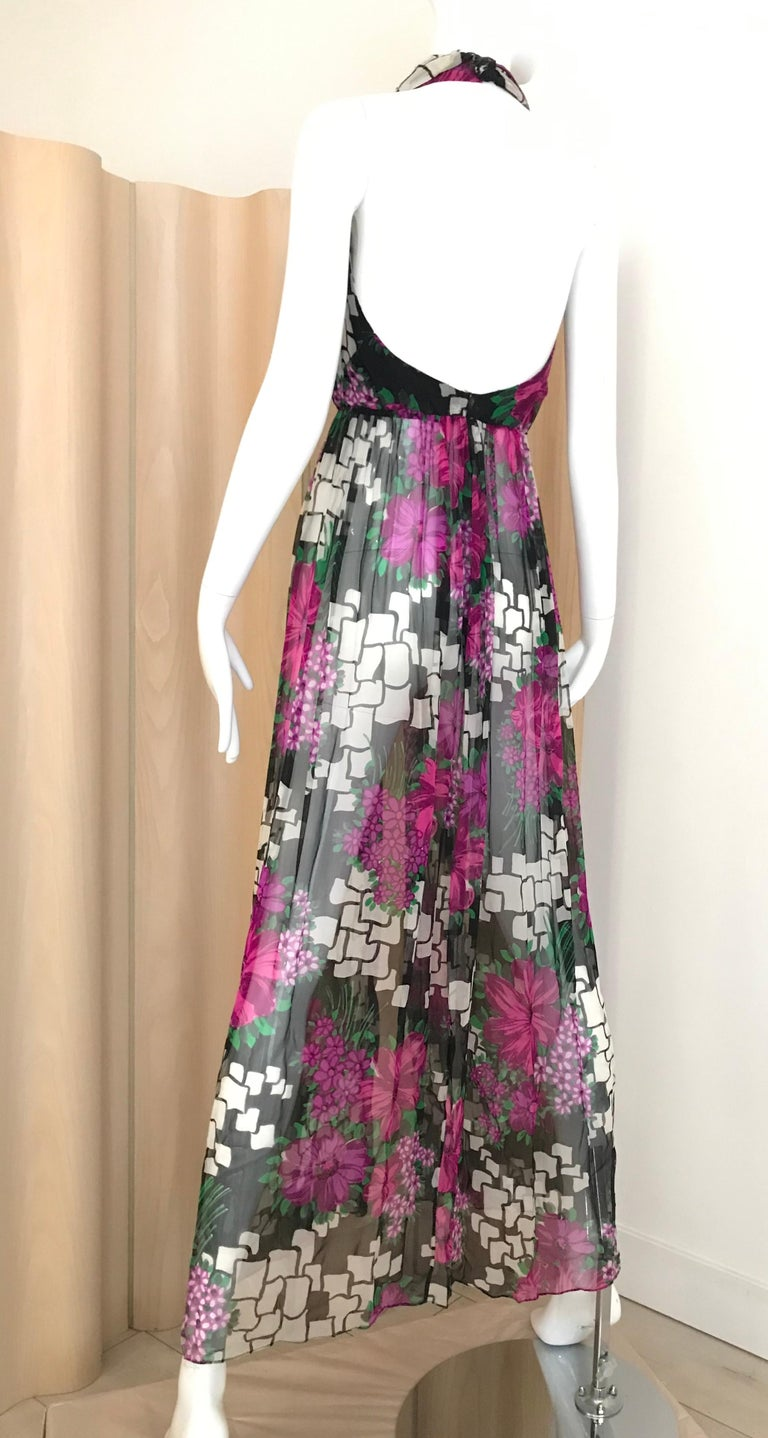 1970s Pierre Cardin Floral Print Halter Silk Vest Dress In Good Condition For Sale In Beverly Hills, CA