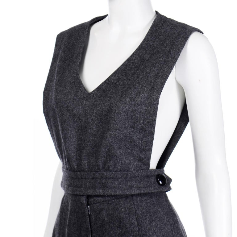 1970s Pierre Cardin Grey Wool Wide Leg Pleated Pants & Vest Style Top Outfit For Sale 6