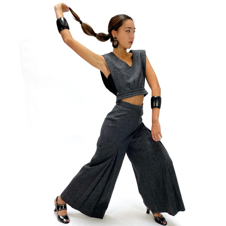 Black 1970s Pierre Cardin Grey Wool Wide Leg Pleated Pants & Vest Style Top Outfit For Sale
