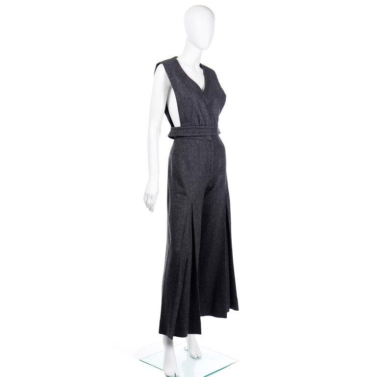 Women's 1970s Pierre Cardin Grey Wool Wide Leg Pleated Pants & Vest Style Top Outfit For Sale