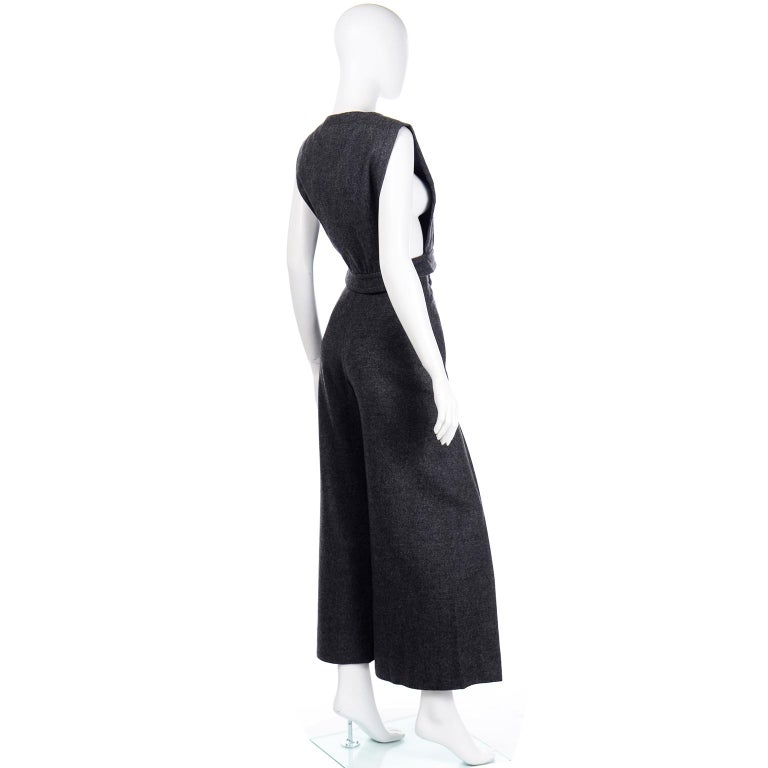 1970s Pierre Cardin Grey Wool Wide Leg Pleated Pants & Vest Style Top Outfit For Sale 1