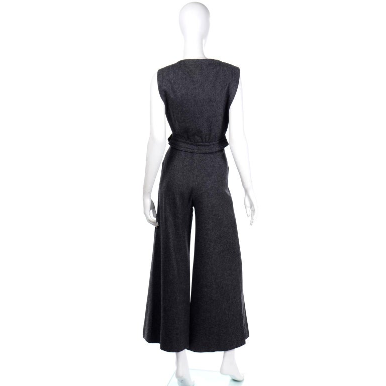 1970s Pierre Cardin Grey Wool Wide Leg Pleated Pants & Vest Style Top Outfit For Sale 2
