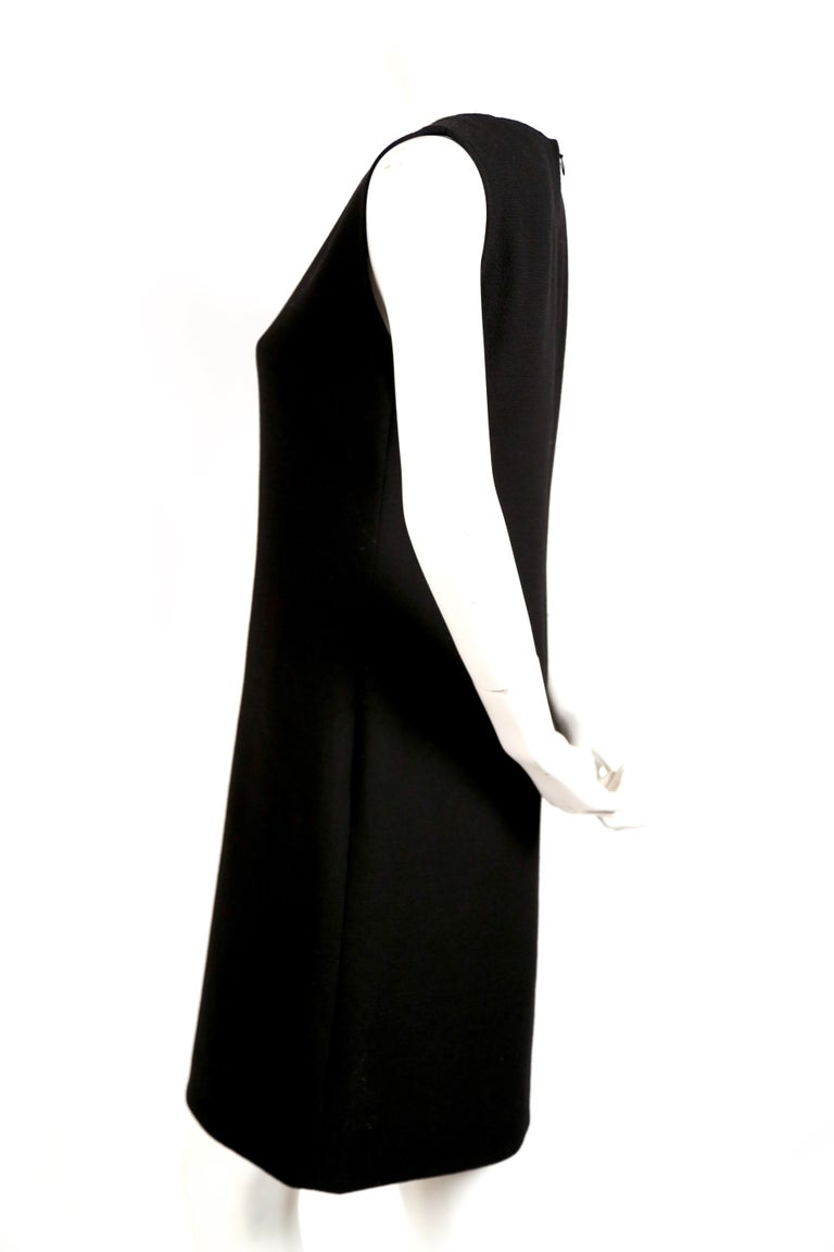 1970's PIERRE CARDIN haute couture wool shift dress with circular cut-outs In Excellent Condition In San Fransisco, CA
