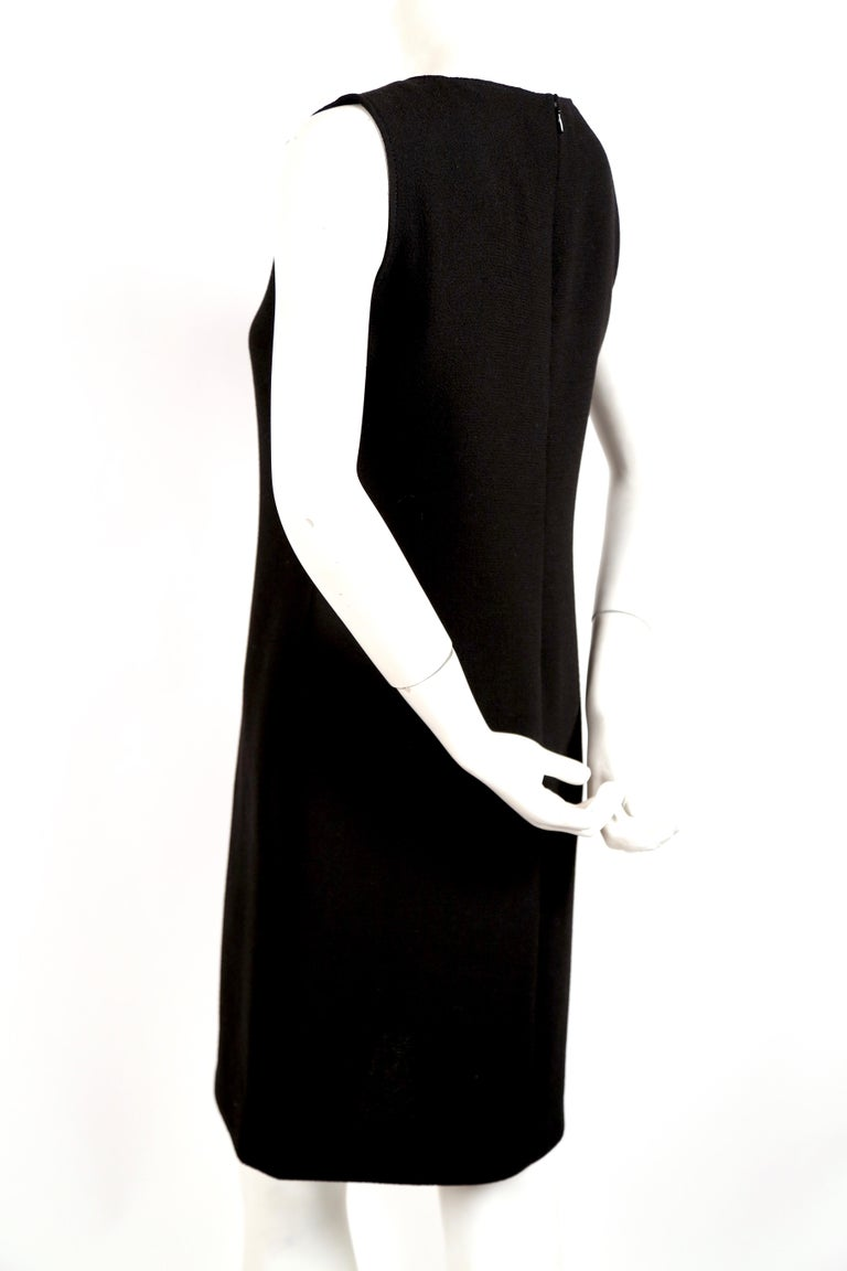 Women's 1970's PIERRE CARDIN haute couture wool shift dress with circular cut-outs